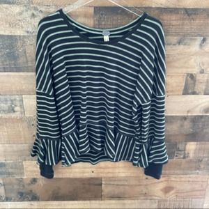 Free People Round About Tee Thermal XS Striped